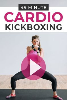 Jab, kick and punch your way to toned arms, strong abs, and lean legs with this 45-minute CARDIO KICKBOXING home workout! Do this as a bodyweight workout or add dumbbells to increase the intensity! Home Boxing Workout, Abs And Cardio Workout, 45 Minute Workout, Cardio Barre, Home Workout Videos, Best Ab Workout, Fitness Workout For Women, Intense Workout, Exercise Videos