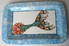 mermaid tray painted by staff at Color Me Mine Saucon Valley, PA