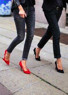 Black and red shorter heels