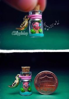 Jigglypuff in a bottle Version 1 tiniest bottle ever... he even has a microphone.. by Blackmago on Instagram