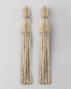 Chain Tassel Earrings, Silver by Oscar de la Renta at Bergdorf Goodman.