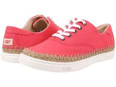 UGG Eyan II Espadrille Sneaker canvas sunset red, black, racing stripe blue sz7.5 89.95 6/16