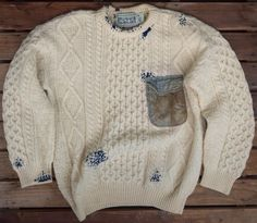 Mr. Narikta: Brown Tabby | repaired doryman sweater: Aran knit wool | added pocket + elbow patches + stitching | Osaka, Japan