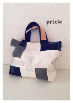 チクチク刺し子のてさげ : prick もっと見る Patchwork Bags, Quilted Bag, Boro, Linen Bag, Denim Bag, Fabric Bags, Market Bag, Shopper, Casual Bags