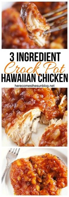 3 Ingredient Crock Pot Hawaiian Chicken Make this delicious Crock Pot Hawaiian Chicken with only 3 ingredients! The post 3 Ingredient Crock Pot Hawaiian Chicken & Slow Cooker Recipes appeared first on Easy dinner recipes . Crock Pot Food, Crockpot Dishes, Crock Pots, Dinner Crockpot, Crock Pot Pasta, Crock Pot Slow Cooker, Slow Cooker Beef Roast, Pork Loin Recipes Slow Cooker, Power Cooker Recipes