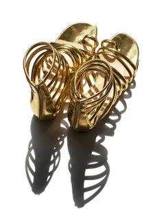Christian Louboutin Catchetta Metallic Gladiator Sandal, Gold