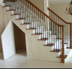 49 Ideas Secret Door Under Stairs Storage For 2019 Door Under Stairs, Space Under Stairs, Under Stairs Cupboard, Basement Stairs, House Stairs, Under Staircase Ideas, Walkout Basement, Bathroom Under Stairs, Kids Basement