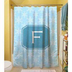 Thumbprintz Snowflake Monogram Shower Curtain, Blue