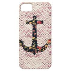Girly floral nautical anchor & purple cute chevron iPhone 5 covers