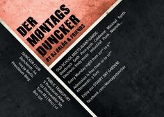 Jeden Montag von 22:00 Uhr bis 05:00 Uhr | Bis 23:00 Uhr ist der Eintritt frei. every mønday from 10pm to 5am | from 10 to 11pm free admission  Music: Gøth Dark Indie Pøst Punk Death Røck Cøld Wave Synth Minimal Industrial EBM.