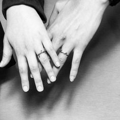 "wedding band tattoos with names. Would be cute as the sound waves of the ""I do""s ring finger tattoo 35 Sweet & Simple Wedding Band Tattoos"
