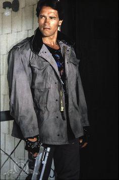 """Arnold Schwarzenegger / (1947- , age 37) as Terminator in """"The Terminator"""", 1984"""