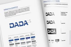 Manual de Marca | Dada Logo Design, Graphic Design, Bullet Journal, Logos, Logo, Visual Identity, Brochures, Trapper Keeper, Note Cards