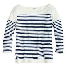 J.Crew - Engineered-stripe boatneck top: This slim top has some artful origins—a photo of Picasso hanging in the design area, in which he's wearing an iconic stripe sailor tee. To recreate the layout, the team carefully engineered the skinny stripe to hit slightly lower on the arms (which happens to be super-flattering).