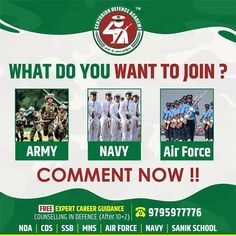 WHAT DO YOU WANT TO JOIN ? 1) Army 2) Navy 3) Air Force Comment now !!  Centurion Defence Academy is Best Coaching Institute for Defence Exam Preparation. Just Call @ +91 9795977776 FOR FREE EXPERT CAREER GUIDANCE COUNSELLING IN DEFENCE (After 10+2) Visit: www.centuriondefenceacademy.com  #NDATIPS #HowToCrackNDA #NATIONALSAFETYDAY #BESTNDACOACHING #DEFENCE #ARMY #MILITARY #INDIANAIRFORCE #INDIANNAVY #INDIANARMY #AIRFORCE #INDIAN #NAVY #NDATIPS National Safety, Navy Air Force, Indian Navy, Indian Air Force, Merchant Navy, Army & Navy, Counselling, Coaching, Career