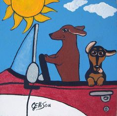 """Doxies Driving"" New Original Painting   Ellison Art"