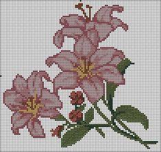 Crochet Flowers Lily Cross Stitch New Ideas Cross Stitch Rose, Cross Stitch Borders, Cross Stitch Flowers, Cross Stitch Charts, Cross Stitching, Cross Stitch Embroidery, Cross Stitch Patterns, Tunisian Crochet Patterns, Christmas Embroidery Patterns
