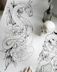 ▷ Over 1001 ideas and examples for the incredibly beautiful dragon tattoo - . , ▷ Over 1001 ideas and examples for the incredibly beautiful dragon tattoo - large dragon intertwined with the roses and holding a skull, black and whi. B Tattoo, Tattoo Artwork, Tattoo Design Drawings, Tattoo Sketches, Tattoo Thigh, Snake Tattoo, Oriental Dragon Tattoo, Chinese Dragon Tattoos, Dragons
