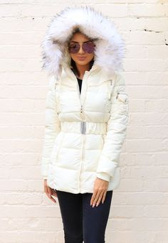 Piper Quilted Longline Hooded Puffer Coat with Faux Fur Trim & Belt in Cream - One Nation Clothing Winter Parka, Winter Jackets, Puffer Coat With Fur, Leather Jacket Outfits, Puffy Jacket, Fur Trim, Faux Fur, Belt, Cream