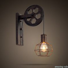 $14.19 - Pulley Lamp Wall Mount Lamp/Ceiling Light Industrial Style 1Pc Vintage Mural R4 #ebay #Home & Garden