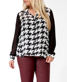 Pixelated Houndstooth Shirt   FOREVER21 PLUS     with a black or white skirt or a teal pant