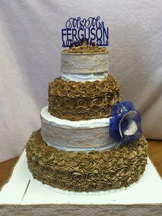 Bronze and White Wedding Cake