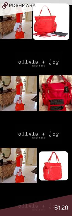 """🆕Olivia+Joy❤️3pcPortiaBabyBag💄Tote💋Lipstick Red This charming tote has room for everything you need💄use as a diaper bag or tote 💋Includes changing pad and zip pouch💄Removable double handle with 21"""" strap length and 10"""" drop length💋Front exterior features one zippered pocket💄two slip pockets, two side zippered pockets💄two side slip pockets 💄Gold toned hardware detail 💄Top zip closureChanging pad included 💄Stroller straps included 💄Lined interior features backwall mesh pocket and…"""