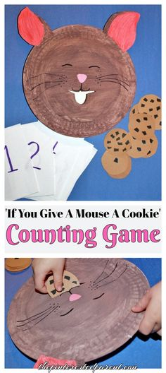 'If You Give A Mouse A Cookie' Counting & Feeding Game - Paper Plate Craft & Activity (Chocolate Lab With Kids) Preschool Books, Preschool Lessons, Preschool Learning, Literacy Activities, Preschool Crafts, Toddler Activities, Crafts For Kids, Math Crafts, Space Activities