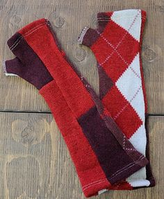 Sarah Armwarmers Red, Burgundy - Reclaimed - Upcycled - Sweater