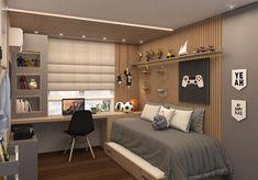 Quarto Adolescente: +95 Ideias e Projetos Originais para 2021 Bedroom Setup, Room Design Bedroom, Boys Bedroom Decor, Bedroom Layouts, Small Room Bedroom, Home Room Design, Kids Room Design, Home Office Design, Bedroom Ideas