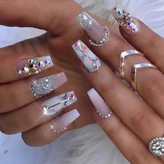 Nail Inspiration 💅  Cute nails will always finish your look!!!  Visit us on our website www.foreignstrandz.com ❤️ 100% Virgin Human Hair 😘 Long Acrylic Nails, Cute Acrylic Nails, Acrylic Nail Designs, Nail Art Designs, Ongles Bling Bling, Bling Nails, Bling Nail Art, Coffin Nails Matte, Gel Nails