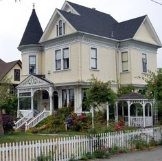 Victorian House in Arcata, which is a small town on Humboldt Bay, located about 5 hours up the coast from San Francisco, in California.  Most all of the Redwood that built San Francisco (twice) came through the town & at one time the town was wall to wall Victorian. What was a rich history of Victorian architecture has been reduced to only a few grand old buildings.