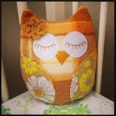 Vintage Upcycled Owl Soft Toy -