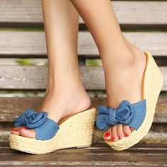 8610895af8fc5 Bow-Accent Denim Platform Mules from  YesStyle  3 Pangmama YesStyle.co.uk