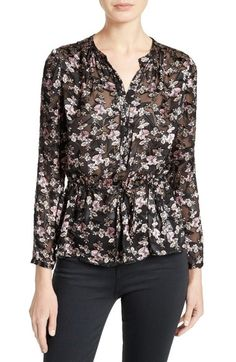 Rebecca Taylor Shadow Floral Burnout Drawstring Blouse available at #Nordstrom