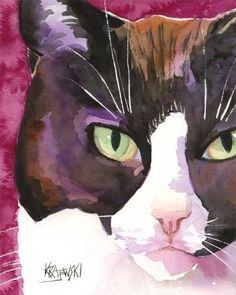 Tuxedo Cat Art Print of Original Watercolor by dogartstudio, $24.50