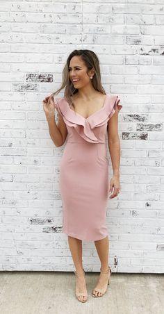 4ebac148e8 Jordyn-Rose. Classic white dress. Ruffle neckline. Fitted midi dress. Bridal
