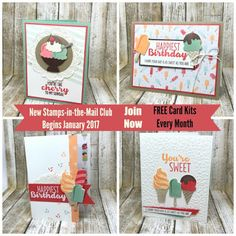 Stampin' Up! Cool Treats.  Free Card kit in January 2017 with purchase, or join the Stamps-in-the-Mail club and get FREE Card Kits every month!