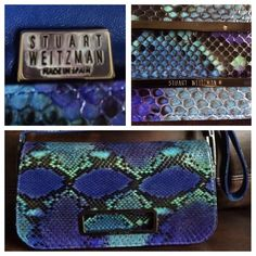 """Stuart Weitzman shoulder bag Stuart Weitzman snake embossed shoulder bag. Gently loved, shows little signs of wear. Colors are vibrant and goes well with any outfit. 10""""x6"""". Shoulder drop is 10"""" Stuart Weitzman Bags Shoulder Bags"""