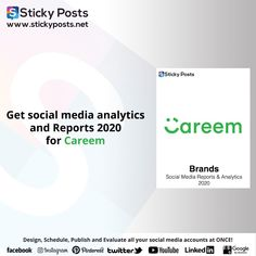 "Careem social media analysis for 2020 Quarter one totally for FREE!    NOW you can manage all your social media accounts at once!  Sticky Posts System the most economical social media management tool all over the world now available in the Middle East & Africa!  Our Unique Services:-  - Posts Generator "" Design all your social media posts automatic""  - Automatic Scheduling "" Save time & Schedule all your social media activities in less than 10 min""  - Automatic Publishing "" You only need to… Social Media Analysis, Social Media Report, Social Media Branding, Facebook O, Social Media Management Tools, East Africa, Middle East, Schedule, Accounting"