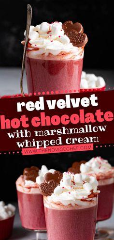 Gourmet Hot Chocolate Recipe, Crockpot Hot Chocolate, Hot Chocolate Bars, Red Velvet Drink Recipe, Red Velvet Recipes, Red Velvet Macaroons, Baileys Recipes, Oreos, Sweets