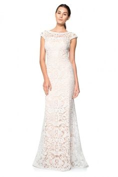 Corded Embroidery on Tulle Off Shoulder Gown | Tadashi Shoji