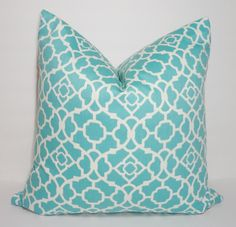 Waverly Lovely Lattice Aqua & White Geometric Pillow Cover Decorative Pillow Cover Size 18x18 by HomeLiving on Etsy https://www.etsy.com/listing/216922696/waverly-lovely-lattice-aqua-white