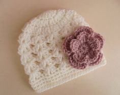 Crochet baby hat baby girl hat cream girl hat by eanddcreation