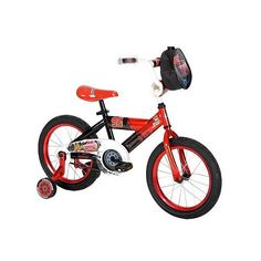 """Disney Pixar's Cars 16 inch Boys Bicycle by Huffy by Huffy. $152.99. Fully enclosed chain guard. Features steel training wheels. Seat: padded with Disney Cars design. Includes the Piston Cup Racing Kit. Racing Red steel frame. The Huffy Disney Cars 16"""" Boys' Bike comes with the Piston Cup Racing Kit filled with racing cones, finish line cones, a checkered flag and customizing labels. The kit attaches to the handlebar to make it easy to carry. Your child will enjoy the Disney ..."""