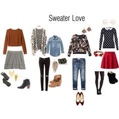 Sweater Love by lesliekerr on Polyvore featuring Monki, Hallhuber, Scotch & Soda, Abercrombie & Fitch, Madewell, SPANX, Charlotte Russe, rag & bone, Charlotte Olympia and Giuseppe Zanotti