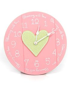 Take a look at this Pink & Green 'Blooming with Love' Clock by Twelve Timbers on #zulily today!