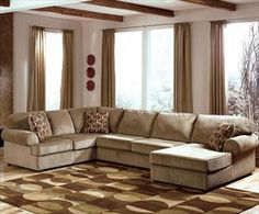 Nebraska Furniture Mart – Ashley Casual 3-Piece Sectional with Right Chaise (basement couch)