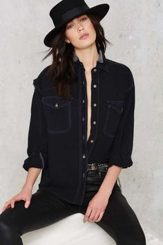 After Party by Nasty Gal Let Her Rip Distressed Shirt