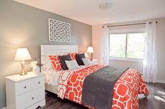 Master bedroom staged by Rooms in Bloom.  www.homestagingdesign.ca